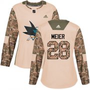 Wholesale Cheap Adidas Sharks #28 Timo Meier Camo Authentic 2017 Veterans Day Women's Stitched NHL Jersey