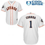 Wholesale Cheap Astros #1 Carlos Correa White Cool Base 2019 World Series Bound Stitched Youth MLB Jersey