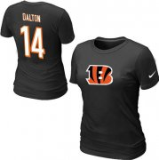 Wholesale Cheap Women's Nike Cincinnati Bengals #14 Andy Dalton Name & Number T-Shirt Black