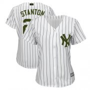 Wholesale Cheap Yankees #27 Giancarlo Stanton White Strip 2018 Memorial Day Cool Base Women's Stitched MLB Jersey
