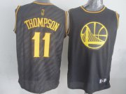 Wholesale Cheap Golden State Warriors #11 Klay Thompson Revolution 30 Swingman 2014 Black With Gold Jersey