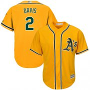 Wholesale Cheap Athletics #2 Khris Davis Gold Cool Base Stitched Youth MLB Jersey