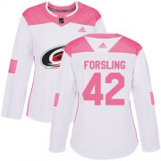 Wholesale Cheap Adidas Hurricanes #42 Gustav Forsling White/Pink Authentic Fashion Women's Stitched NHL Jersey