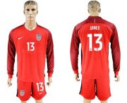 Wholesale Cheap USA #13 Jones Away Long Sleeves Soccer Country Jersey
