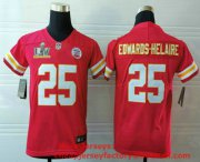 Wholesale Cheap Youth Kansas City Chiefs #25 Clyde Edwards-Helaire Red 2021 Super Bowl LV Vapor Untouchable Stitched Nike Limited NFL Jersey