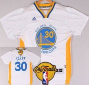 Wholesale Cheap Golden State Warriors #30 Stephen Curry 2015 The Finals New White Short-Sleeved Jersey