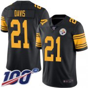 Wholesale Cheap Nike Steelers #21 Sean Davis Black Men's Stitched NFL Limited Rush 100th Season Jersey