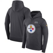 Wholesale Cheap NFL Men's Pittsburgh Steelers Nike Anthracite Crucial Catch Performance Pullover Hoodie
