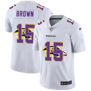 Wholesale Cheap Baltimore Ravens #15 Marquise Brown White Men's Nike Team Logo Dual Overlap Limited NFL Jersey