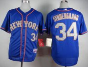 Wholesale Cheap Mets #34 Noah Syndergaard Blue(Grey NO.) Alternate Road Cool Base Stitched MLB Jersey