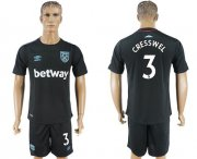 Wholesale Cheap West Ham United #3 Cresswell Away Soccer Club Jersey