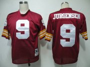 Wholesale Cheap Mitchell and Ness Redskins #9 Sonny Jurgensen Red Stitched Throwback NFL Jersey