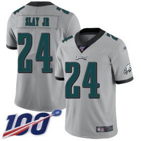 Wholesale Cheap Nike Eagles #24 Darius Slay Jr Silver Youth Stitched NFL Limited Inverted Legend 100th Season Jersey