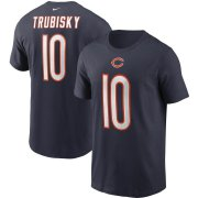 Wholesale Cheap Chicago Bears #10 Mitchell Trubisky Nike Team Player Name & Number T-Shirt Navy
