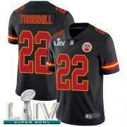Wholesale Cheap Nike Chiefs #22 Juan Thornhill Black Super Bowl LIV 2020 Youth Stitched NFL Limited Rush Jersey