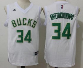 Wholesale Cheap Men\'s Milwaukee Bucks #34 Giannis Antetokounmpo All White Stitched NBA adidas Revolution 30 Swingman Jersey