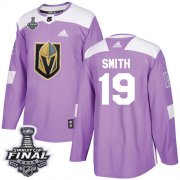 Wholesale Cheap Adidas Golden Knights #19 Reilly Smith Purple Authentic Fights Cancer 2018 Stanley Cup Final Stitched NHL Jersey