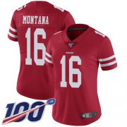 Wholesale Cheap Nike 49ers #16 Joe Montana Red Team Color Women's Stitched NFL 100th Season Vapor Limited Jersey