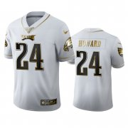 Wholesale Cheap Philadelphia Eagles #24 Jordan Howard Men's Nike White Golden Edition Vapor Limited NFL 100 Jersey