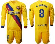 Wholesale Cheap Barcelona #8 A.Iniesta Away Long Sleeves Soccer Club Jersey