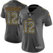 Wholesale Cheap Nike Steelers #12 Terry Bradshaw Gray Static Women's Stitched NFL Vapor Untouchable Limited Jersey
