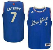 Wholesale Cheap Men's New York Knicks #7 Carmelo Anthony Revolution 30 Swingman 2015 Christmas Day Blue Jersey
