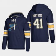 Wholesale Cheap St. Louis Blues #41 Robert Bortuzzo Blue adidas Lace-Up Pullover Hoodie