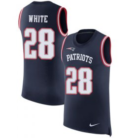 Wholesale Cheap Nike Patriots #28 James White Navy Blue Team Color Men\'s Stitched NFL Limited Rush Tank Top Jersey