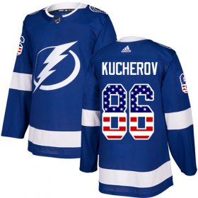 Wholesale Cheap Adidas Lightning #86 Nikita Kucherov Blue Home Authentic USA Flag Stitched Youth NHL Jersey