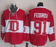 Wholesale Cheap Red Wings #91 Sergei Fedorov Red Winter Classic CCM Throwback Stitched NHL Jersey