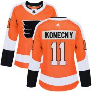 Wholesale Cheap Adidas Flyers #11 Travis Konecny Orange Home Authentic Women's Stitched NHL Jersey