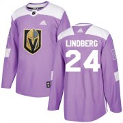 Wholesale Cheap Adidas Golden Knights #24 Oscar Lindberg Purple Authentic Fights Cancer Stitched Youth NHL Jersey
