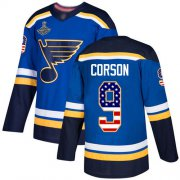 Wholesale Cheap Adidas Blues #9 Shayne Corson Blue Home Authentic USA Flag Stanley Cup Champions Stitched NHL Jersey