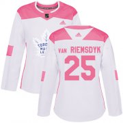 Wholesale Cheap Adidas Maple Leafs #25 James Van Riemsdyk White/Pink Authentic Fashion Women's Stitched NHL Jersey