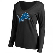 Wholesale Cheap Women's Detroit Lions Pro Line Primary Team Logo Slim Fit Long Sleeve T-Shirt Black