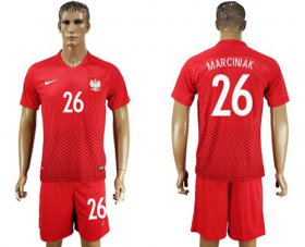 Wholesale Cheap Poland #26 Marciniak Away Soccer Country Jersey
