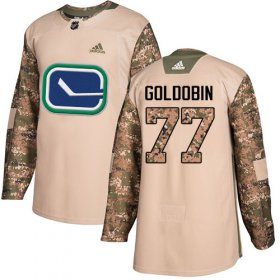 Wholesale Cheap Adidas Canucks #77 Nikolay Goldobin Camo Authentic 2017 Veterans Day Youth Stitched NHL Jersey