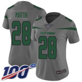 Wholesale Cheap Nike Jets #28 Curtis Martin Gray Women\'s Stitched NFL Limited Inverted Legend 100th Season Jersey