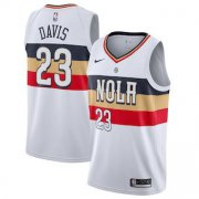 Wholesale Cheap Men's New Orleans 23 Pelicans Anthony Davis Nike White 2018-19 Swingman Earned Edition Jersey