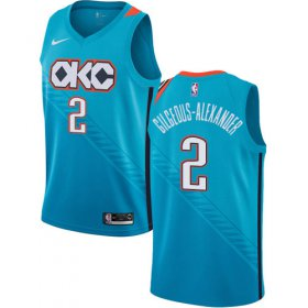 Wholesale Cheap Nike Thunder #2 Shai Gilgeous-Alexander Turquoise NBA Swingman City Edition 2018-19 Jersey
