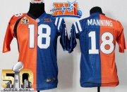 Wholesale Cheap Nike Colts #18 Peyton Manning Orange/Blue Super Bowl XLI & Super Bowl 50 Youth Stitched NFL Elite Split Broncos Jersey