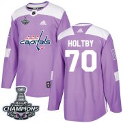 Wholesale Cheap Adidas Capitals #70 Braden Holtby Purple Authentic Fights Cancer Stanley Cup Final Champions Stitched NHL Jersey
