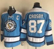 Wholesale Penguins #87 Sidney Crosby Blue Alternate CCM Throwback Stitched NHL Jersey