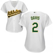 Wholesale Cheap Athletics #2 Khris Davis White Home Women's Stitched MLB Jersey