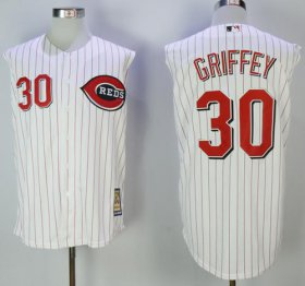 Wholesale Cheap Mitchell And Ness 2000 Reds #30 Ken Griffey White Strip Throwback Stitched MLB Jersey