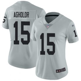 Wholesale Cheap Nike Raiders #15 Nelson Agholor Silver Women\'s Stitched NFL Limited Inverted Legend Jersey