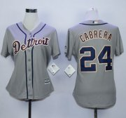 Wholesale Cheap Tigers #24 Miguel Cabrera Grey Road Women's Stitched MLB Jersey