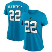 Wholesale Cheap Carolina Panthers #22 Christian McCaffrey Nike Women's Team Player Name & Number T-Shirt Blue