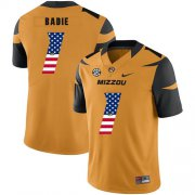 Wholesale Cheap Missouri Tigers 1 Tyler Badie Gold USA Flag Nike College Football Jersey