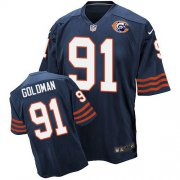 Wholesale Nike Bears #91 Eddie Goldman Navy Blue Throwback Men's Stitched NFL Elite Jersey